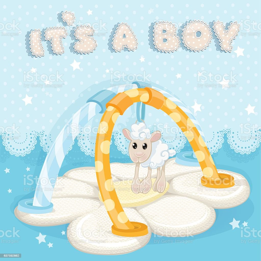 Greeting card with children's rug is a boy vector art illustration