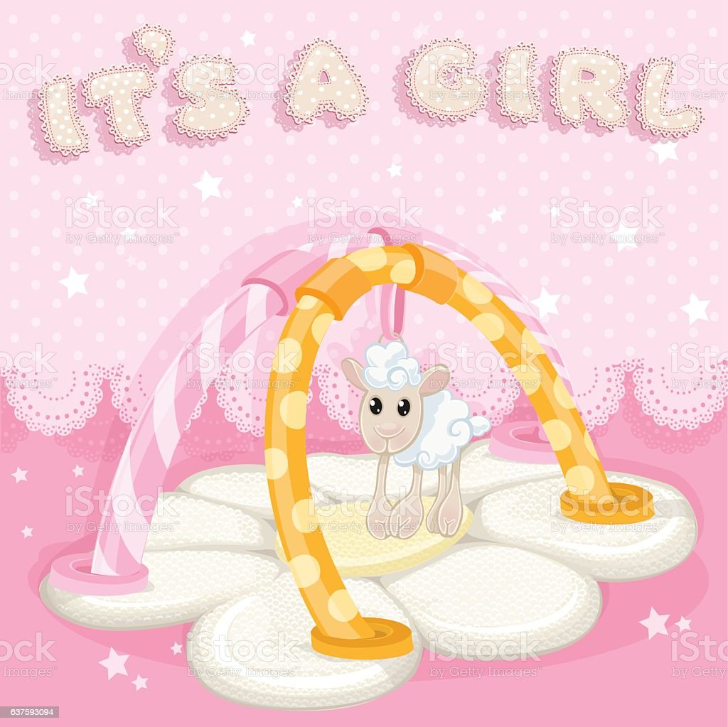 Greeting card with children's rug is a girl vector art illustration