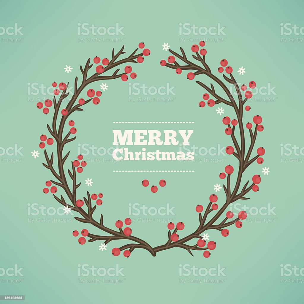 Greeting card with Christmas wreath royalty-free stock vector art