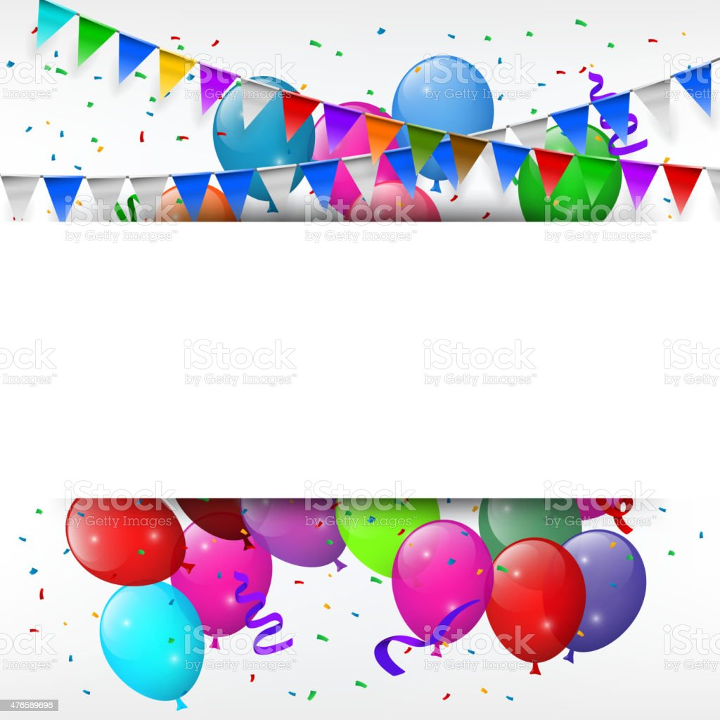 Greeting card with colorful balloons and triangle flags vector art illustration
