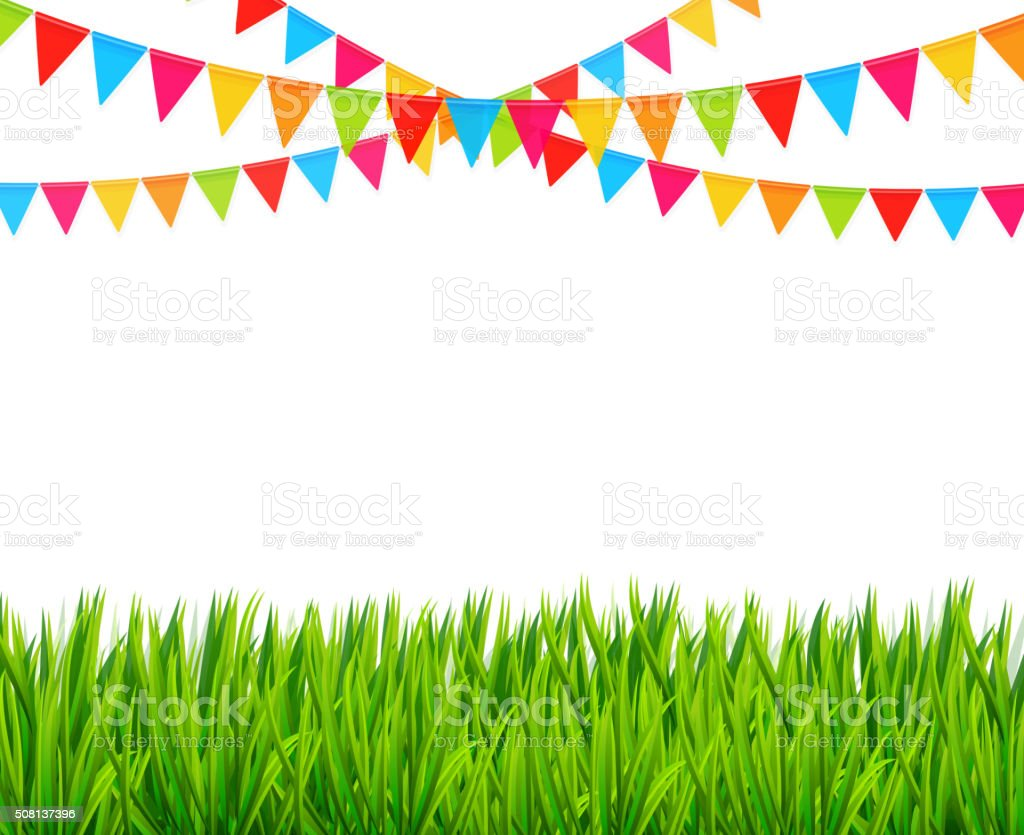 Greeting card with colorful flags and green grass vector art illustration