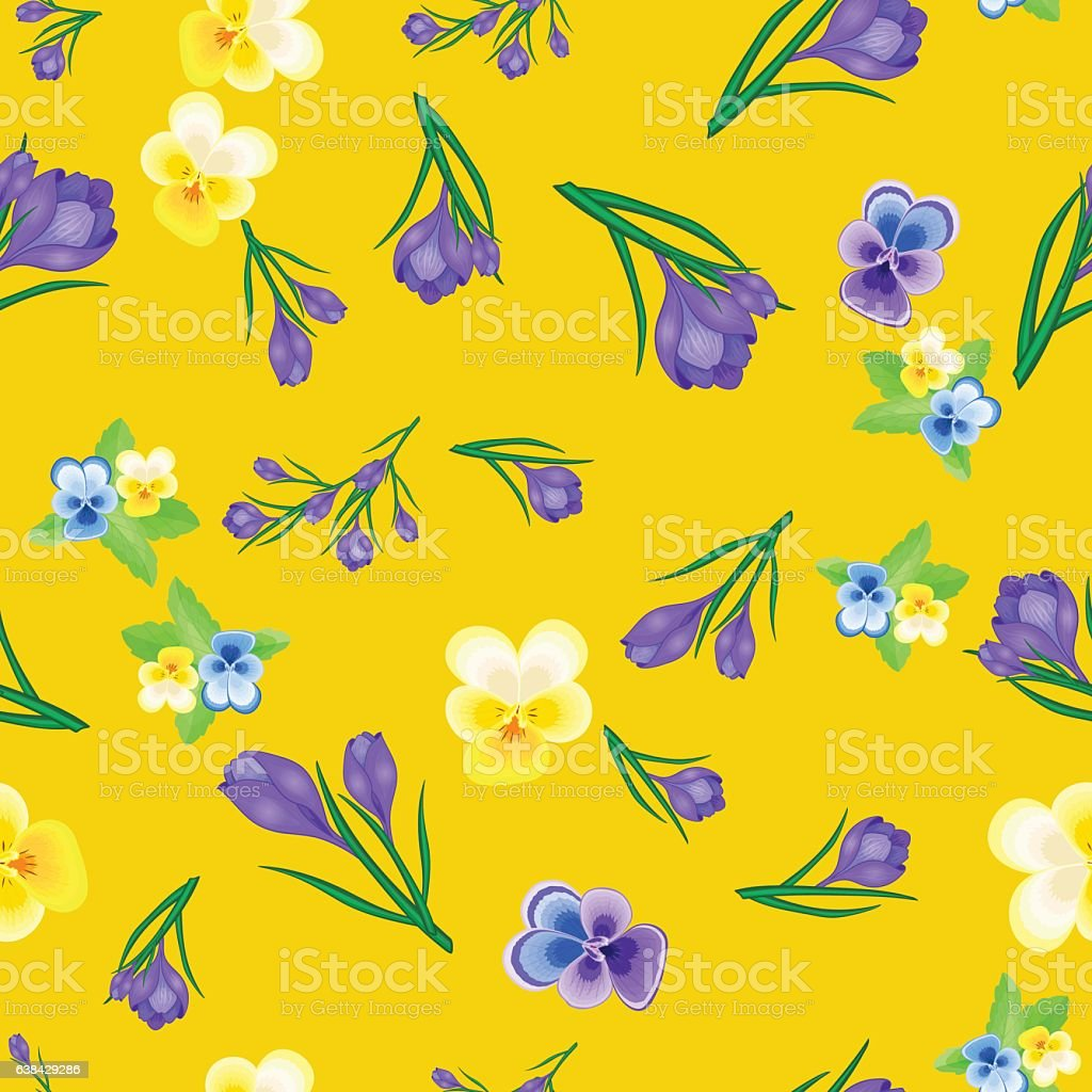 greeting card with crocuses yellow-01 vector art illustration