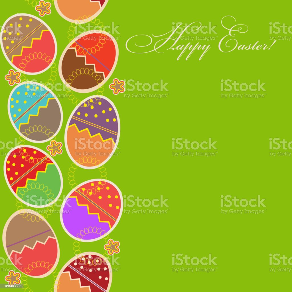greeting card with different easter eggs royalty-free stock vector art