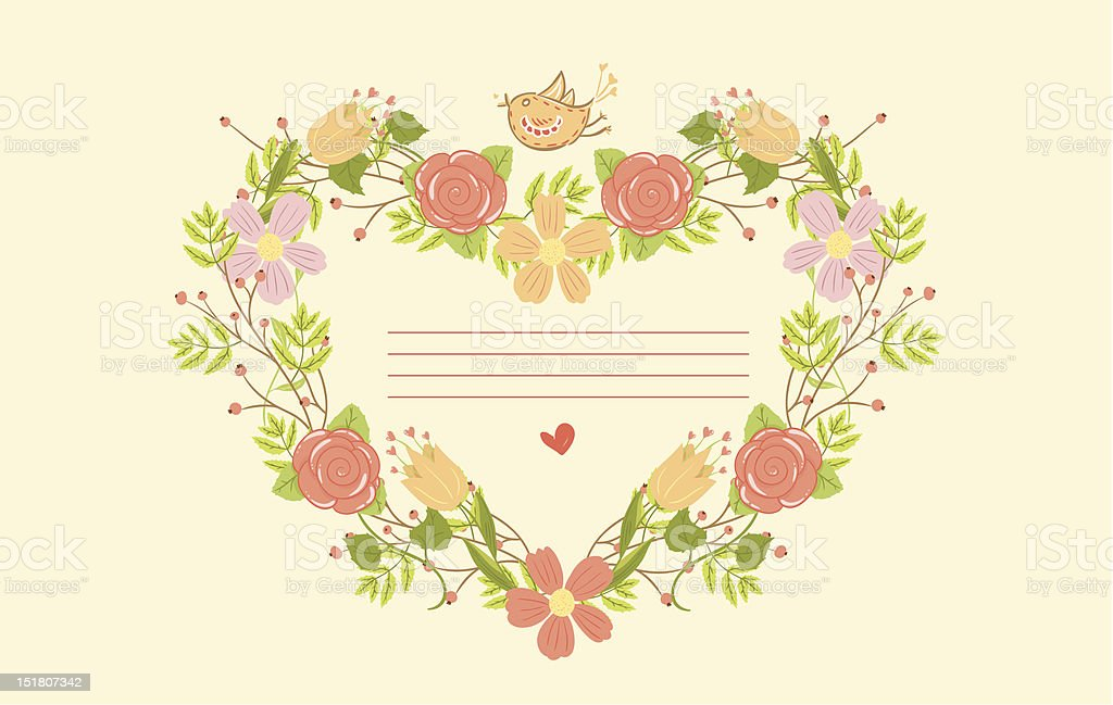 Greeting card with floral heart shape royalty-free stock vector art
