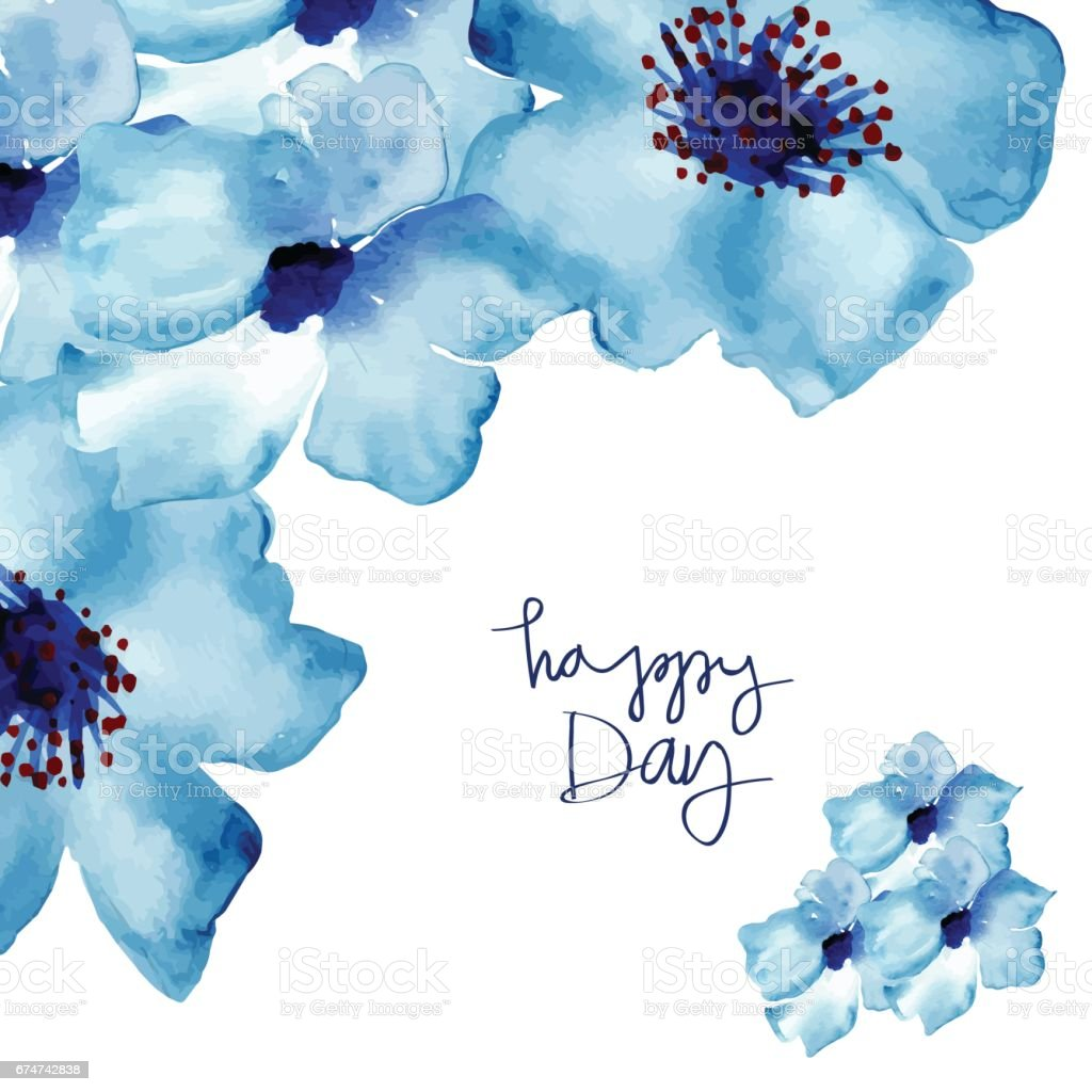 Greeting card with flowers in watercolor vector art illustration