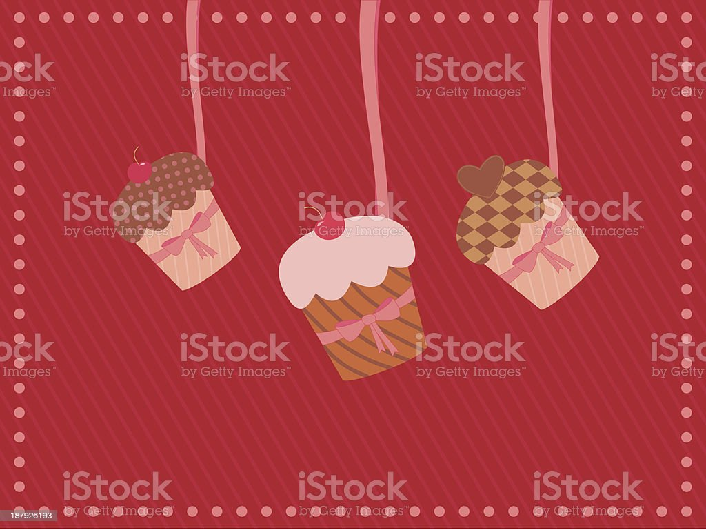 greeting card with  handing cupcakes royalty-free stock vector art