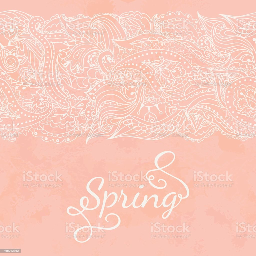 Greeting card with lace vector art illustration