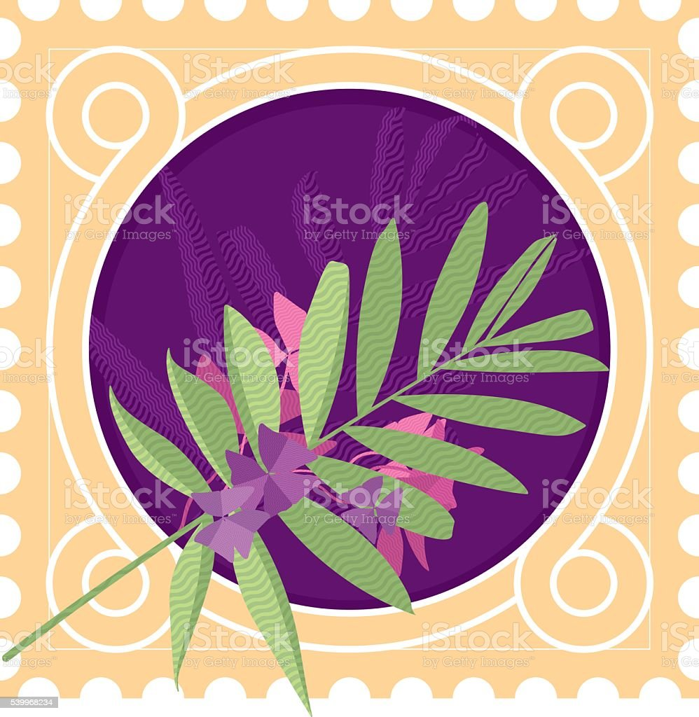Greeting card with leaves end border vector art illustration