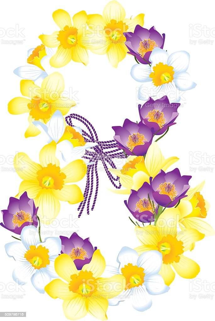 Greeting card with March 8, flowers daffodils and crocuses vector art illustration