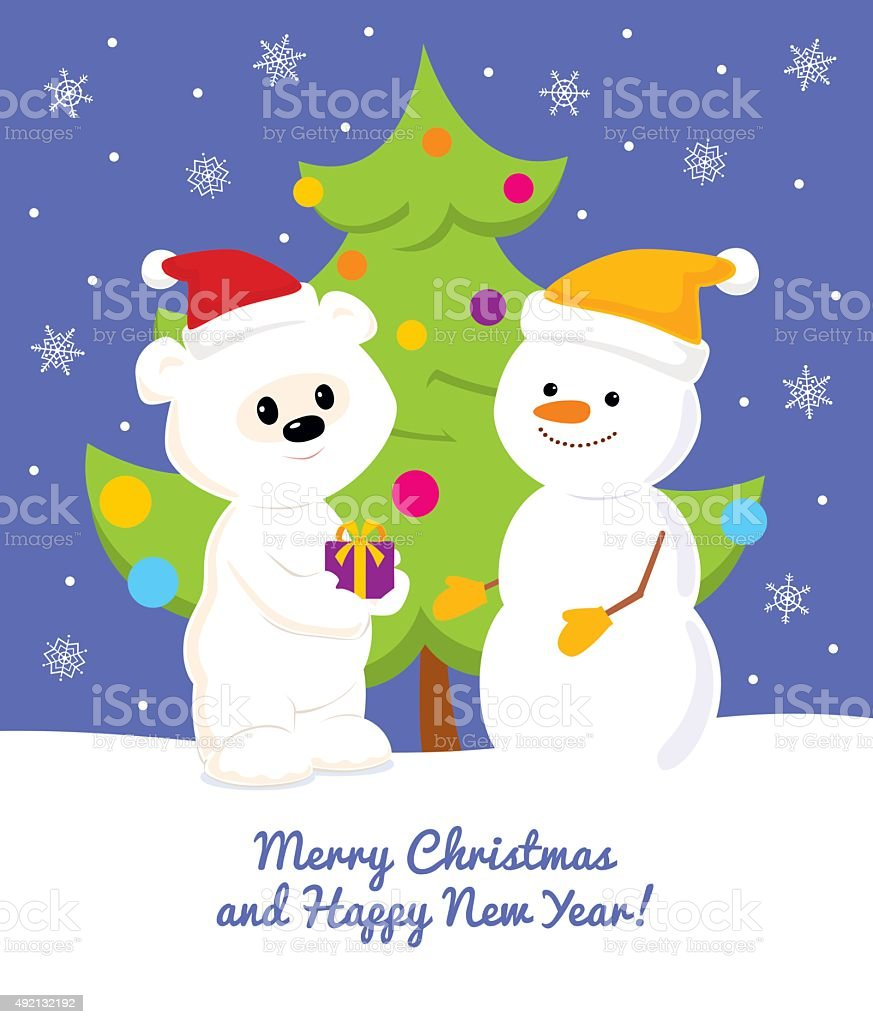 Greeting card with polar bear, snowman and Christmas tree vector art illustration