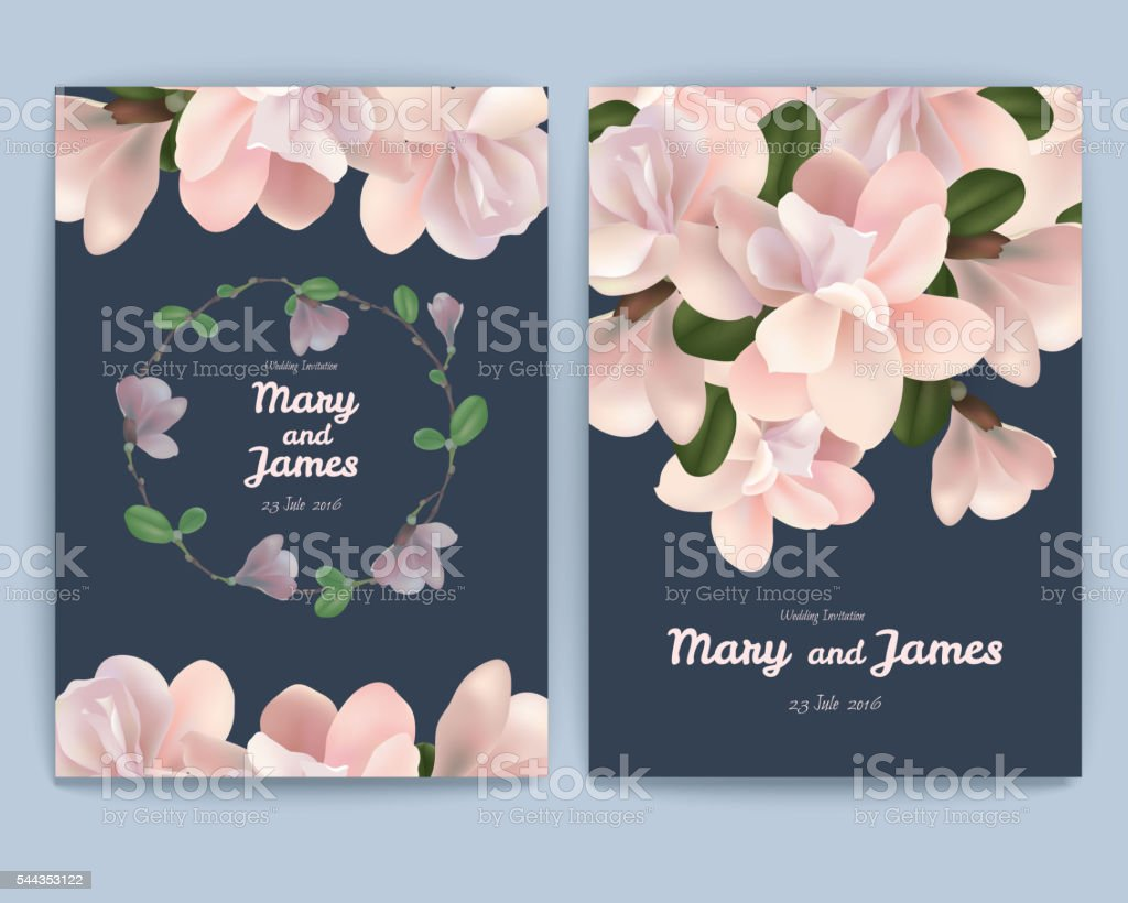 Greeting card with realistic flowers. Set of two cards. vector art illustration