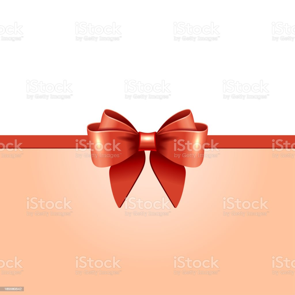 Greeting card with red bow royalty-free stock vector art