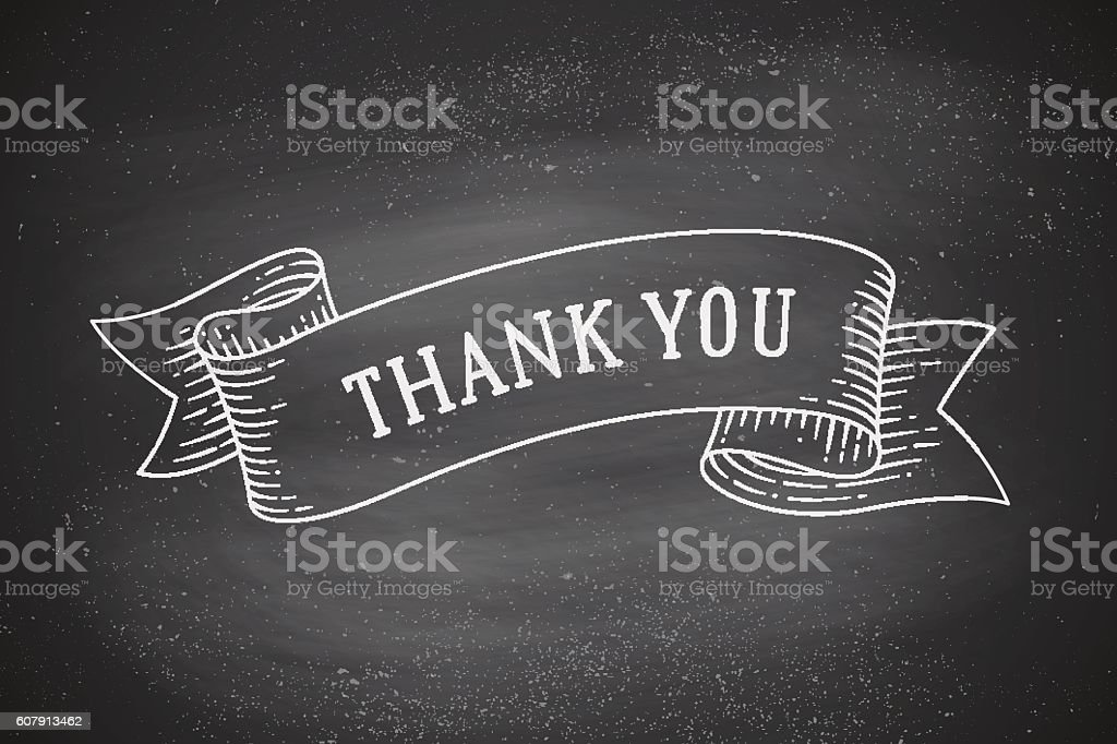 Greeting card with ribbon and phrase Thank you vector art illustration