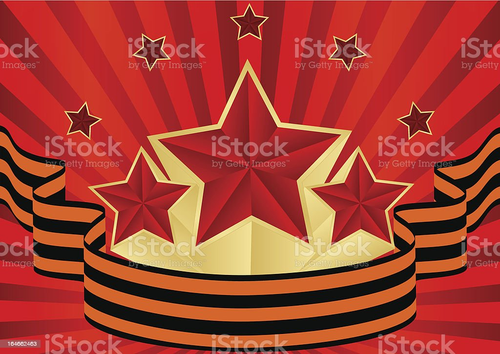 greeting card with ribbons and red stars royalty-free stock vector art
