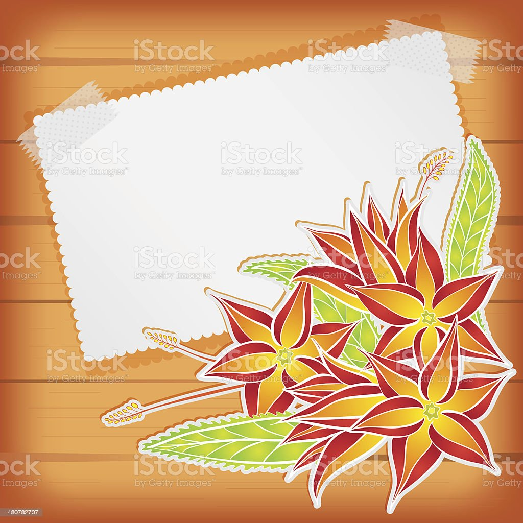 Greeting card with scotch tape and flowers royalty-free stock vector art