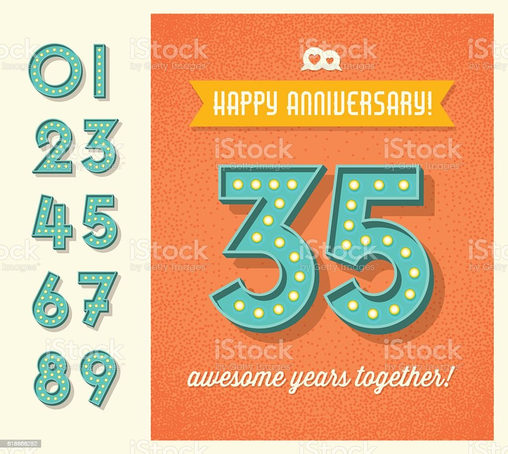 greeting card with set of lighted retro marquee numbers vector art illustration