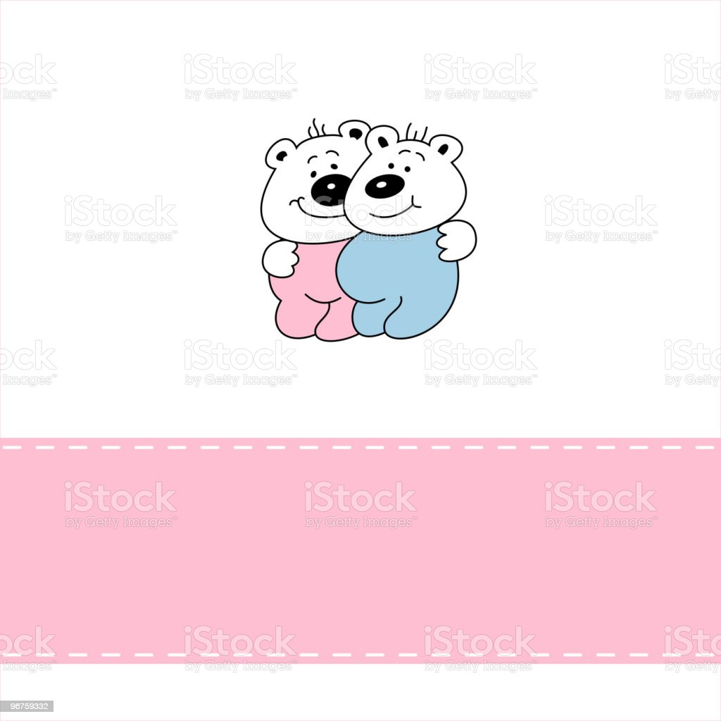 Greeting card with smiling baby bears royalty-free stock vector art