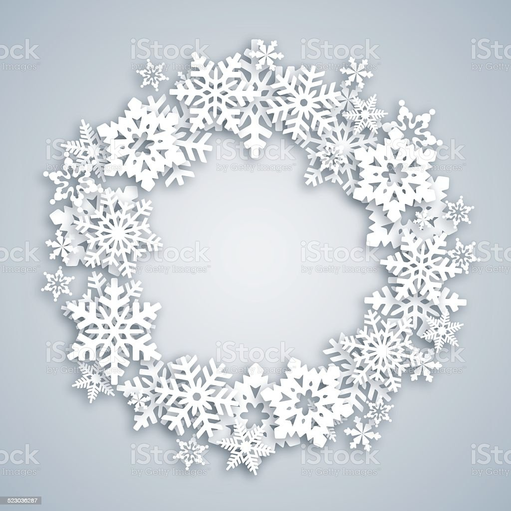 Greeting card with Snow Wreath vector art illustration