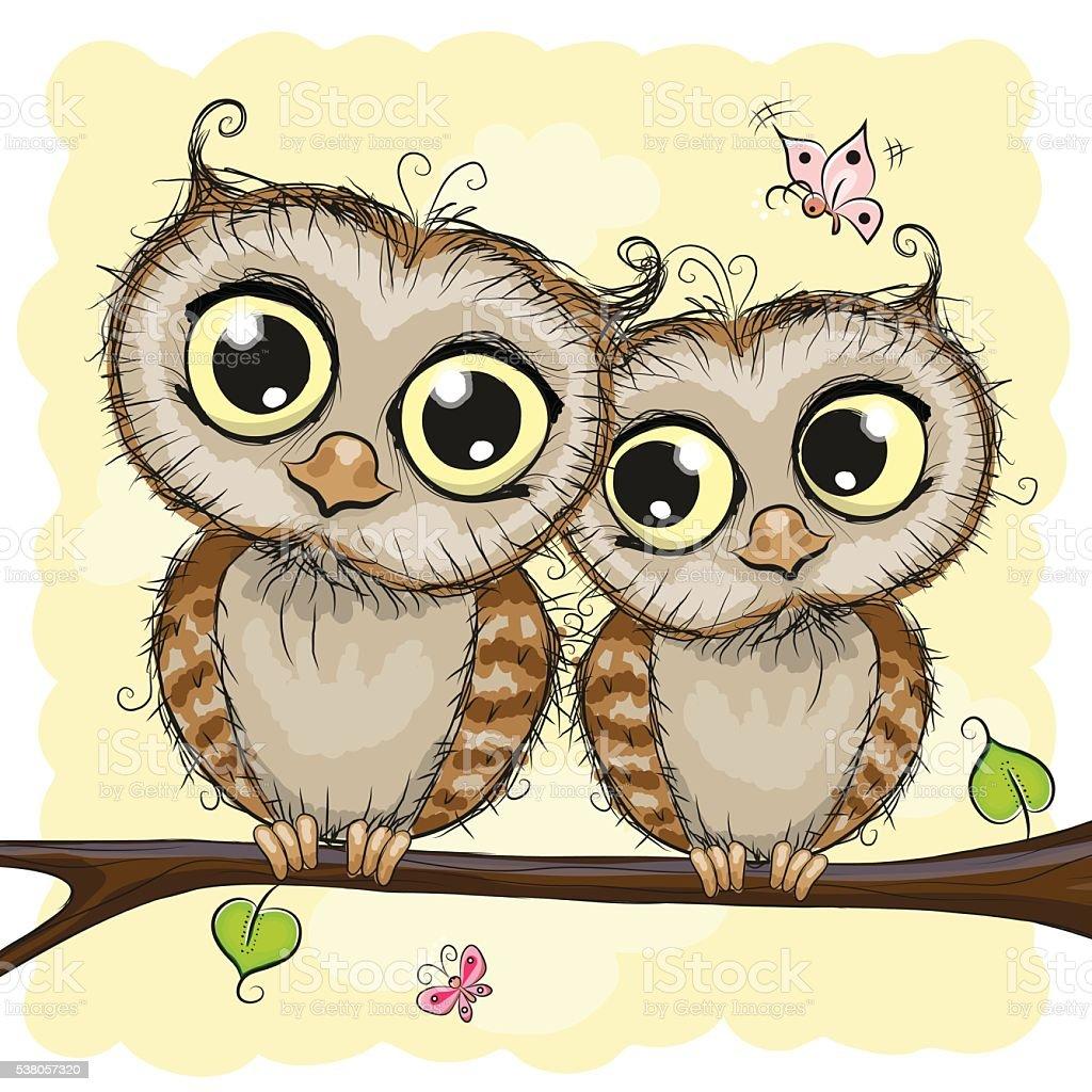 Две нарисованной совы