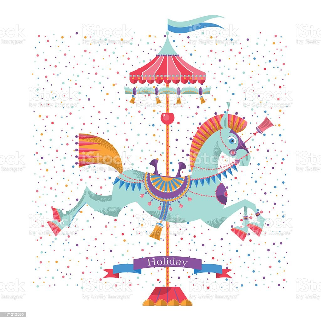 Greeting card with vintage carousel horse. vector art illustration