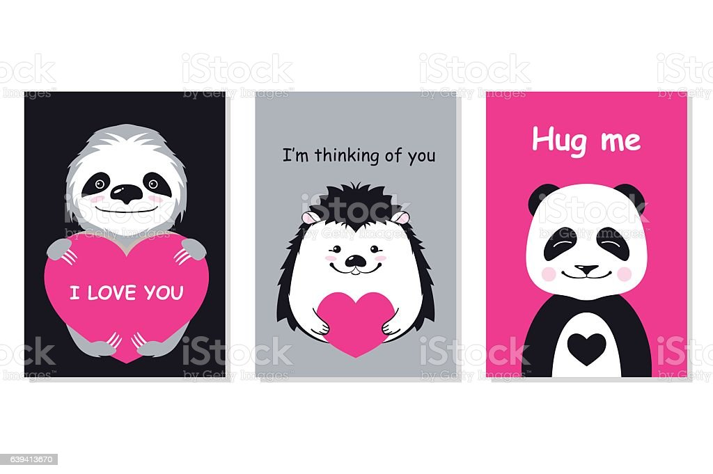 Greeting cards set - cute animals. Vector hand drawn template vector art illustration