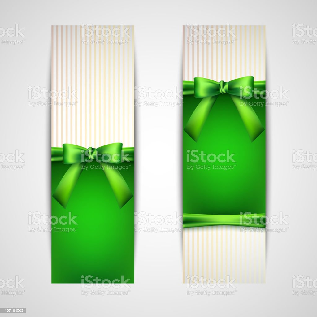 greeting cards with green bows and ribbons royalty-free stock vector art