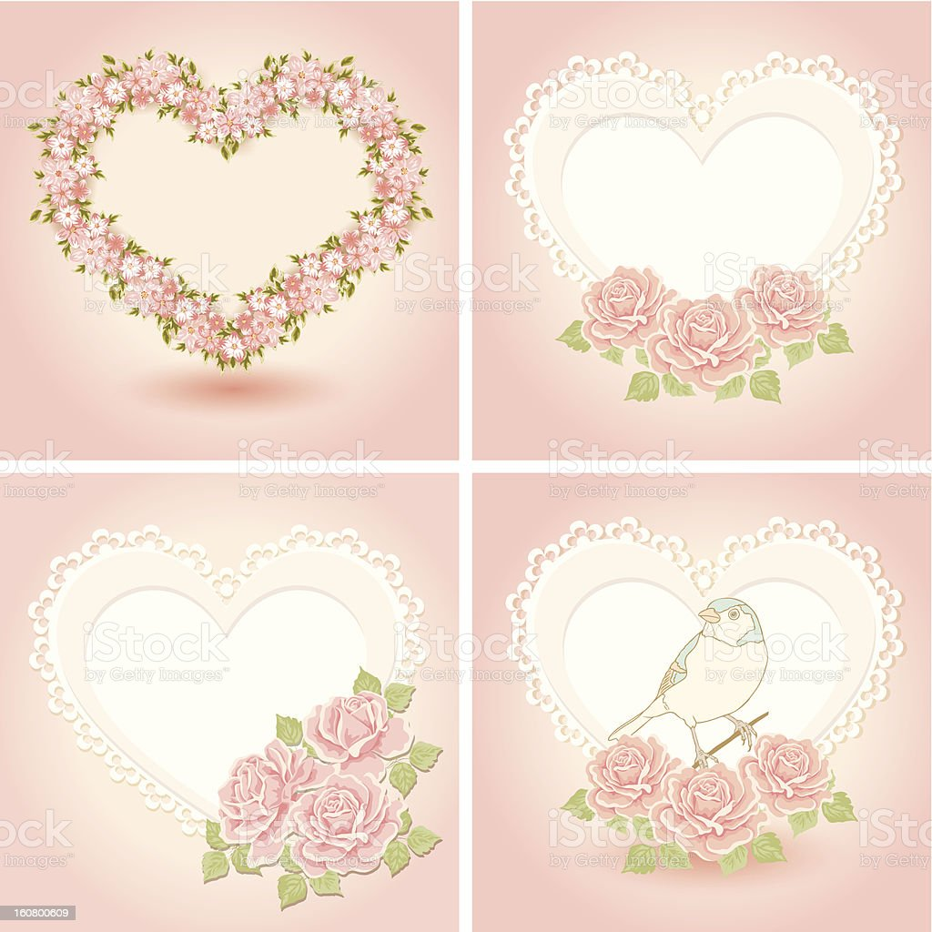 Greeting cards with heart shape. royalty-free stock vector art