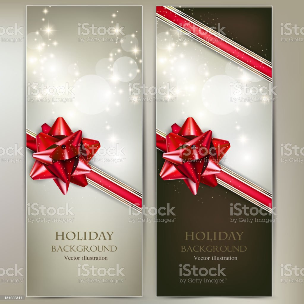 Greeting cards with red bows and copy space. royalty-free stock vector art