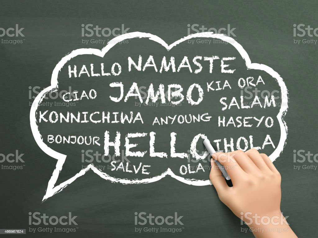 greeting in different language written by hand vector art illustration