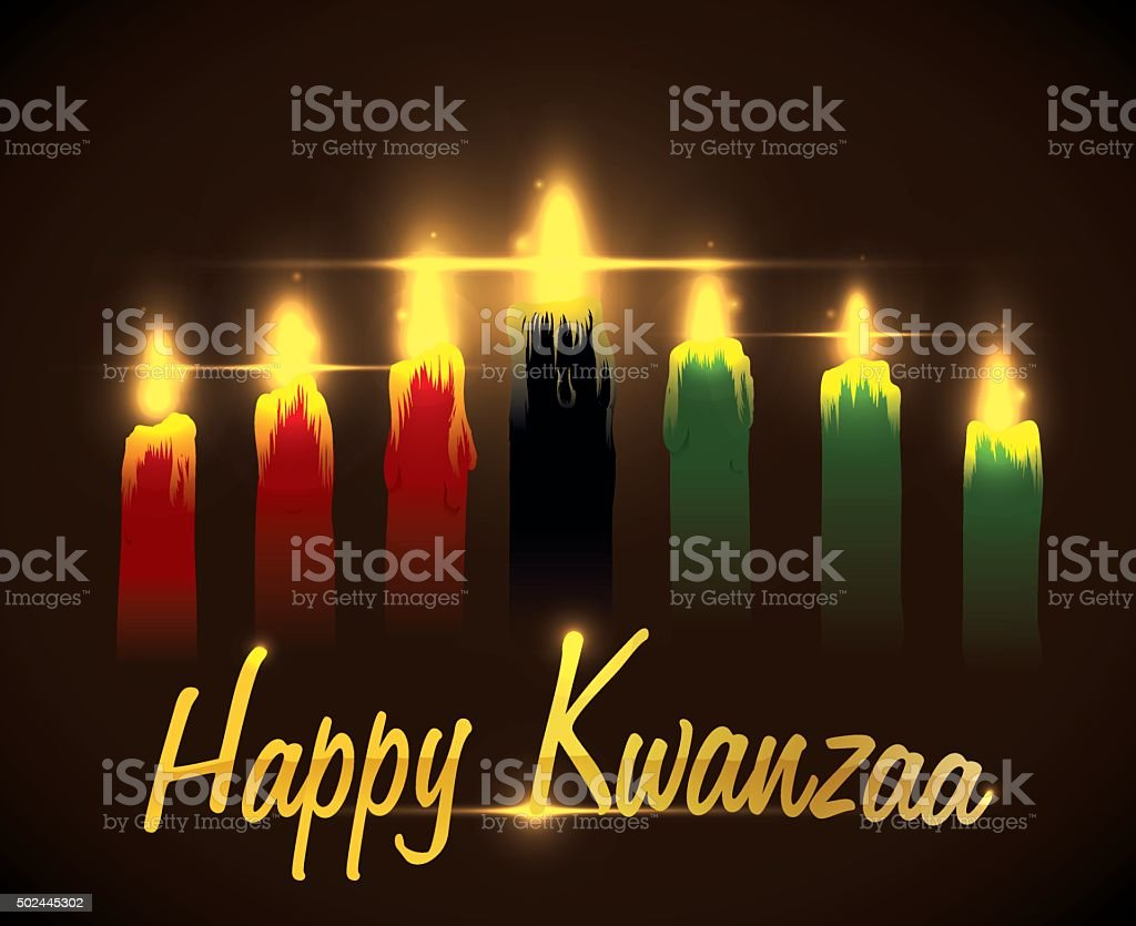 Greeting Kwanzaa Message with Traditional Candles. vector art illustration