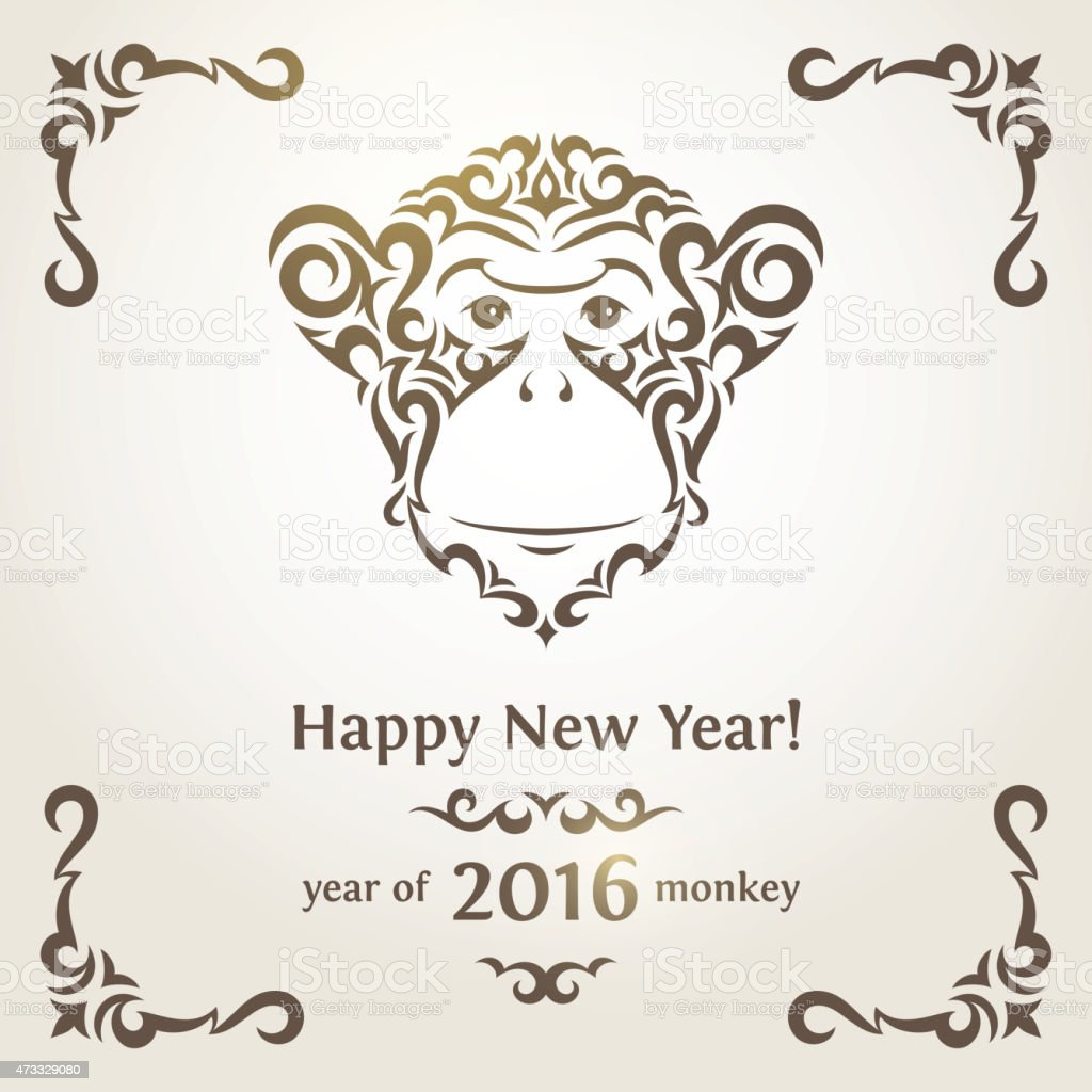 Greeting New Year card with monkey - symbol of the vector art illustration