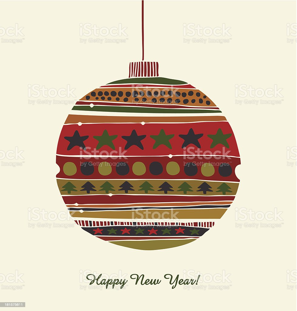 Greeting template for Christmas design. Happy New Year card royalty-free stock vector art