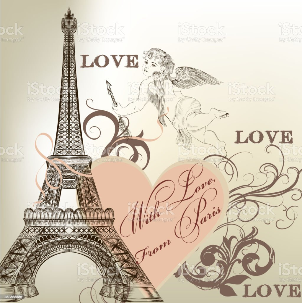 Greeting Valentine card with detailed vector Eiffel tower vector art illustration