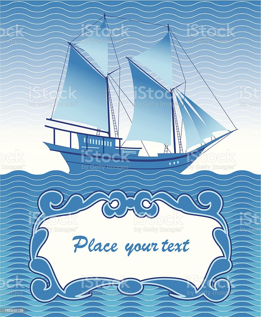 greeting with a ship royalty-free stock vector art