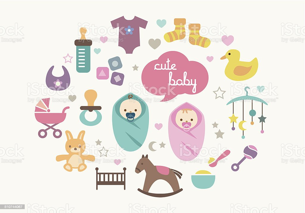 Greetings Card - Babies and Toys vector art illustration