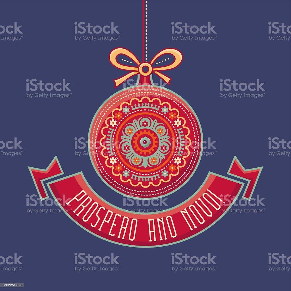 Greetings card. Próspero Ano Novo. vector art illustration