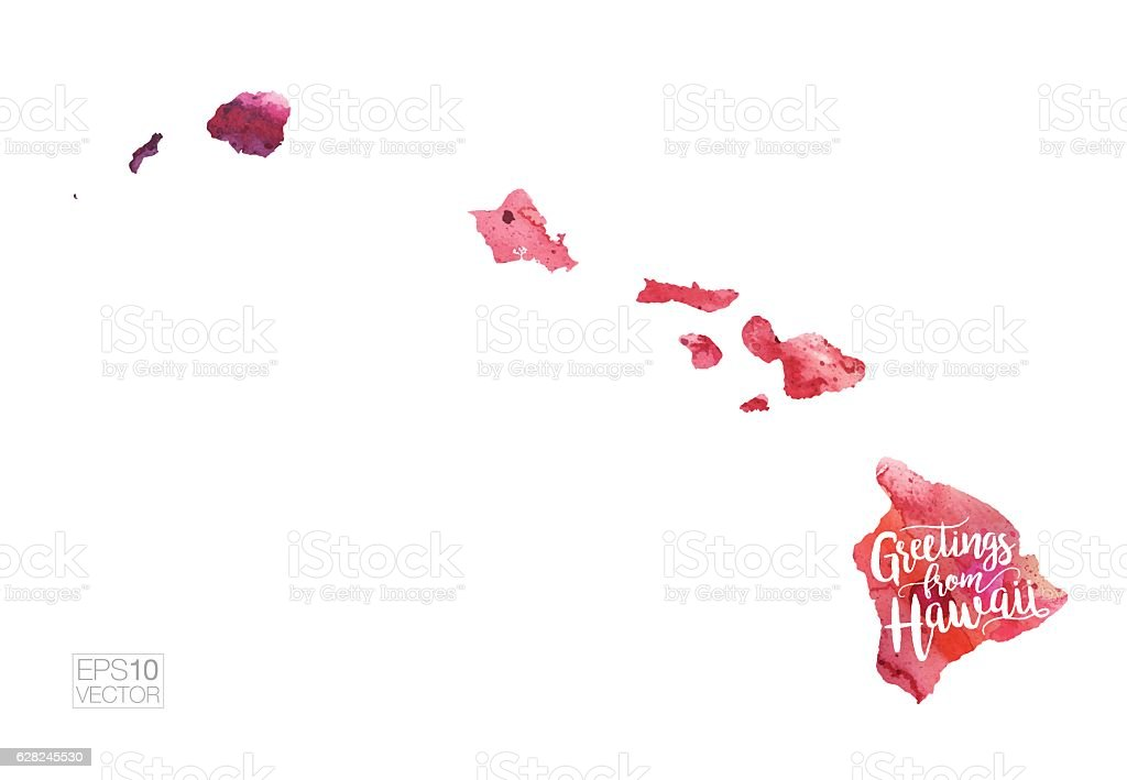 Greetings from Hawaii Vector Watercolor Map vector art illustration