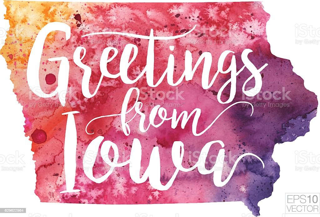 Greetings from Iowa Vector Watercolor Map vector art illustration
