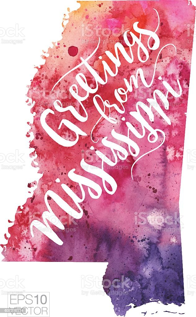 Greetings from Mississippi Vector Watercolor Map vector art illustration