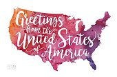 Greetings from the United States of America Vector Watercolor Map