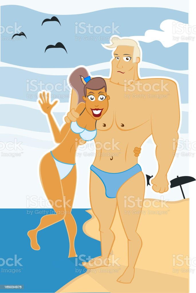 Greetings from vacation vector art illustration