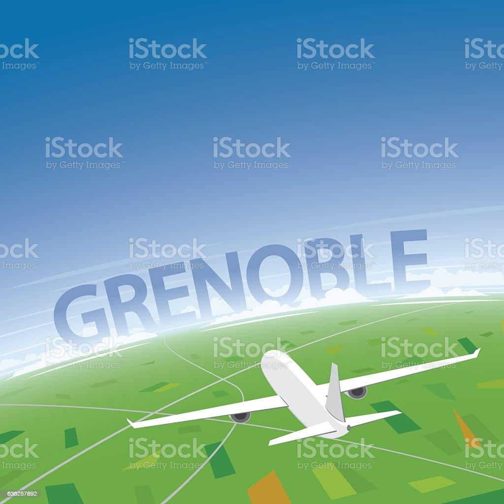 Grenoble Flight Destination vector art illustration