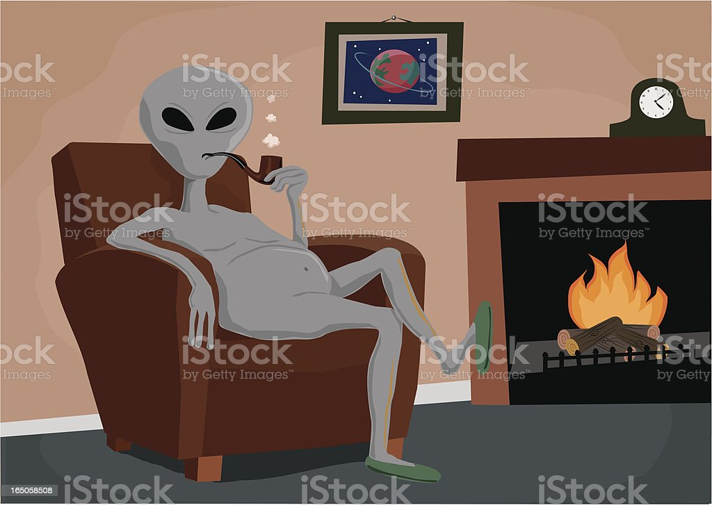 Grey Alien with Pipe vector art illustration