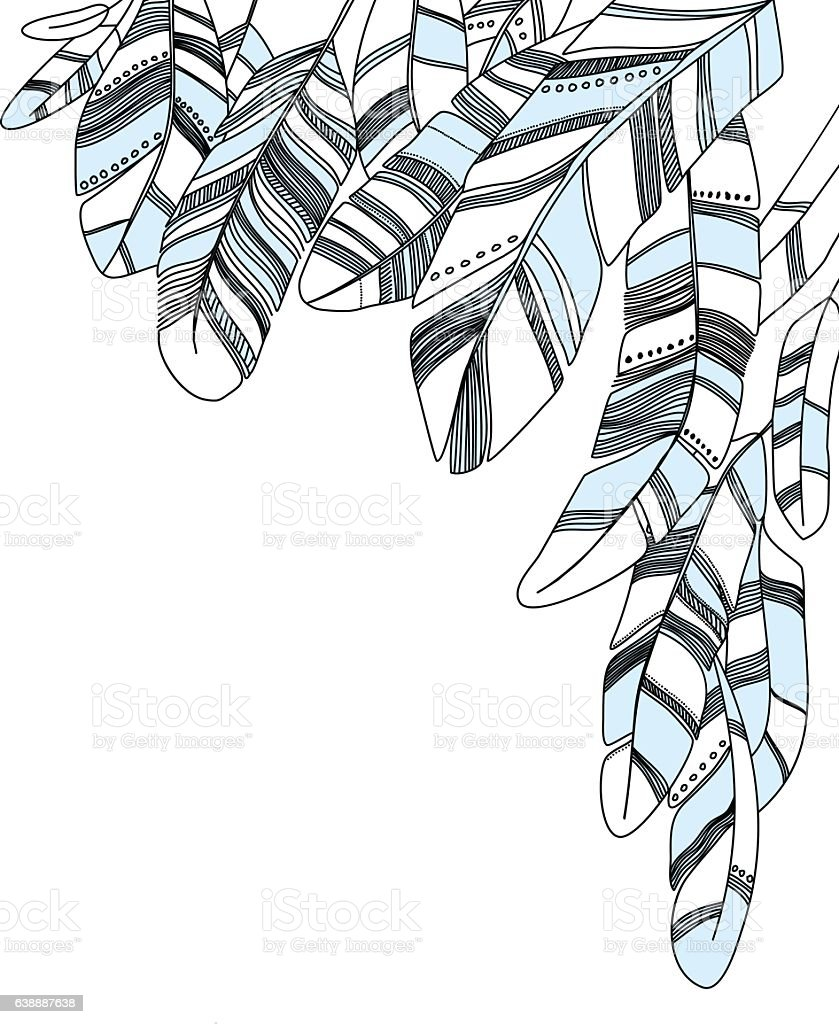 Grey and blue drawn feathers background. vector art illustration