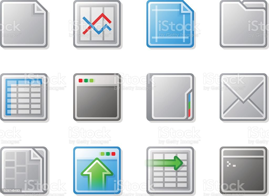 Grey and Blue Plastic Look Web Icons with Gradient Fill vector art illustration
