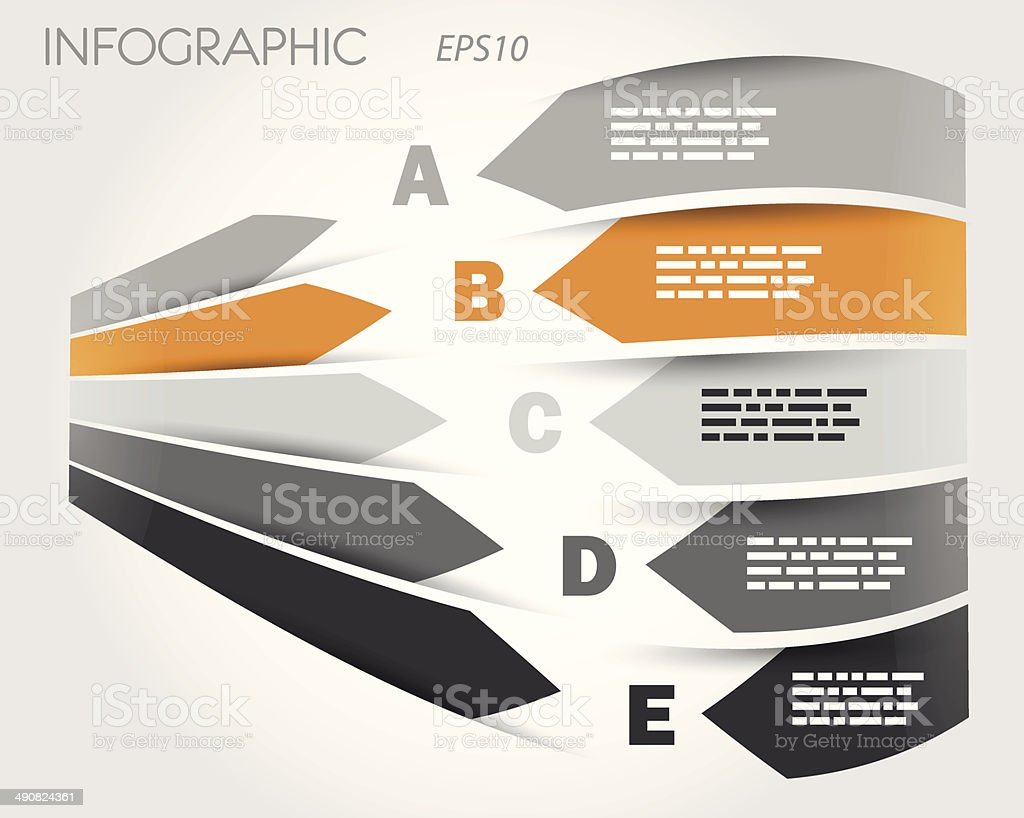 grey and orange 3d infographic with labels royalty-free stock vector art