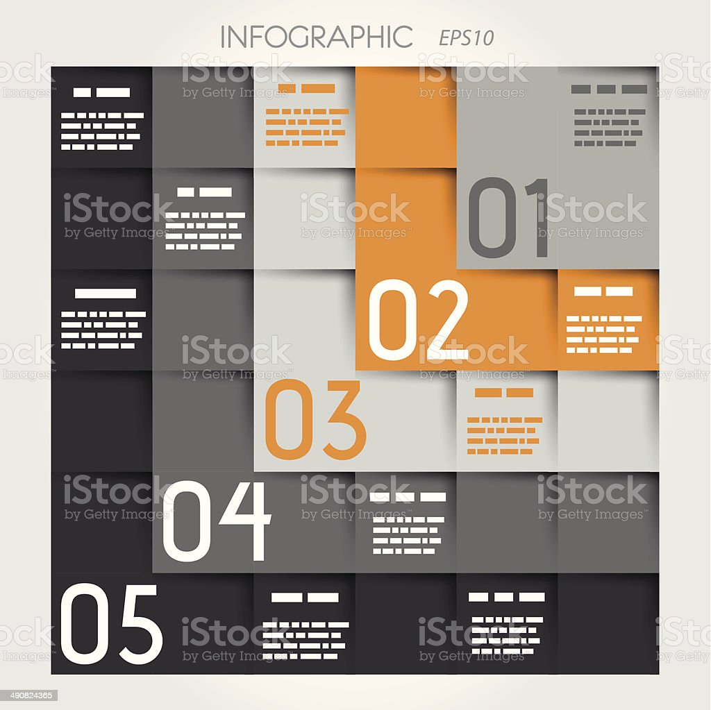 grey and orange five L options square infographic royalty-free stock vector art