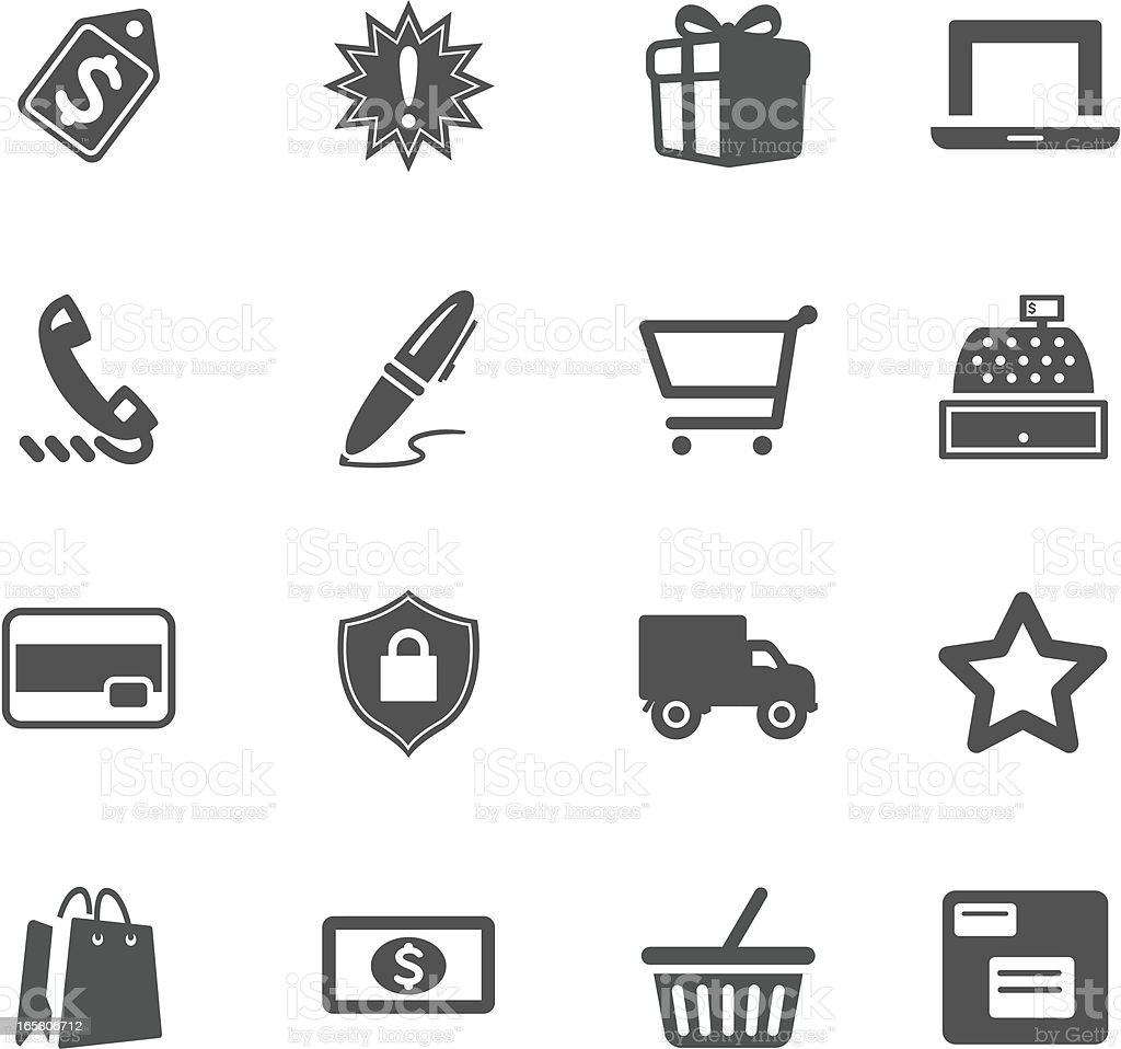Grey and white shopping symbol illustrations vector art illustration