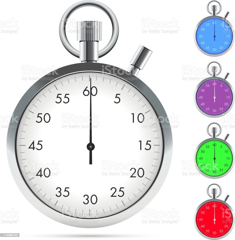 A grey and white stopwatch with four other color variants vector art illustration