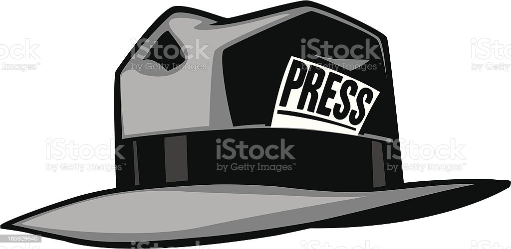 Grey cartoon hat with the word press vector art illustration